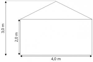 Skiss Tält 4x3 m att hyra, partytält