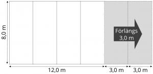 Skiss Tält 8 meter att hyra