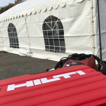 17. Hilti: Tält uthyres för kundarrangemang.
